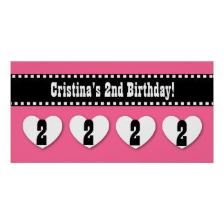2nd Birthday Red Black Stars Banner Custom V01 Poster