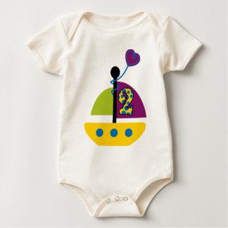 2nd Birthday Sailboat Baby Bodysuit