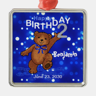 2nd Birthday Teddy Bear Keepsake Metal Ornament