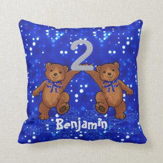 2nd Birthday Teddy Bears Throw Pillow