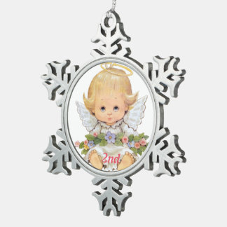 2nd Christmas Sweet Baby Pewter Snowflake Ornament