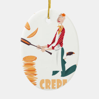 2nd February - Crepe Day Ceramic Oval Ornament