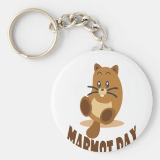 2nd February - Marmot Day Basic Round Button Keychain