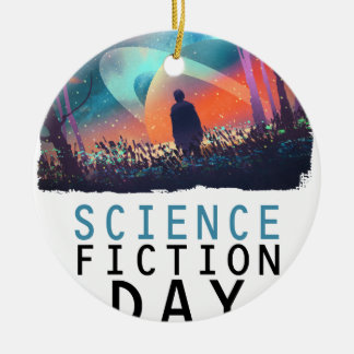 2nd February - Science Fiction Day Round Ceramic Ornament