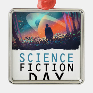 2nd February - Science Fiction Day Silver-Colored Square Ornament