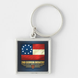 2nd Georgia Infantry Silver-Colored Square Keychain