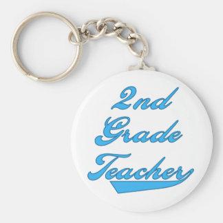 2nd Grade Teacher Blue Basic Round Button Keychain
