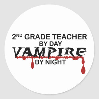 2nd Grade Vampire by Night Round Sticker