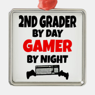 2nd Grader by Day Gamer by Night Silver-Colored Square Ornament