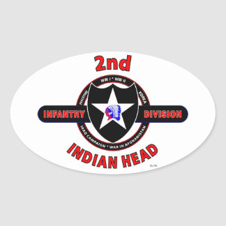 """2ND INFANTRY DIVISION """"INDIAN HEAD"""" OVAL STICKER"""