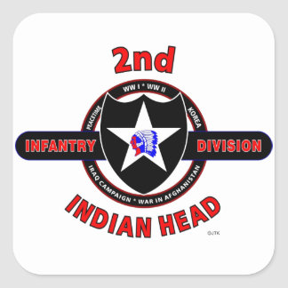 """2ND INFANTRY DIVISION """"INDIAN HEAD"""" SQUARE STICKER"""