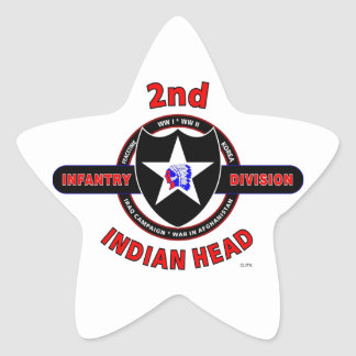 """2ND INFANTRY DIVISION """"INDIAN HEAD"""" STAR STICKER"""