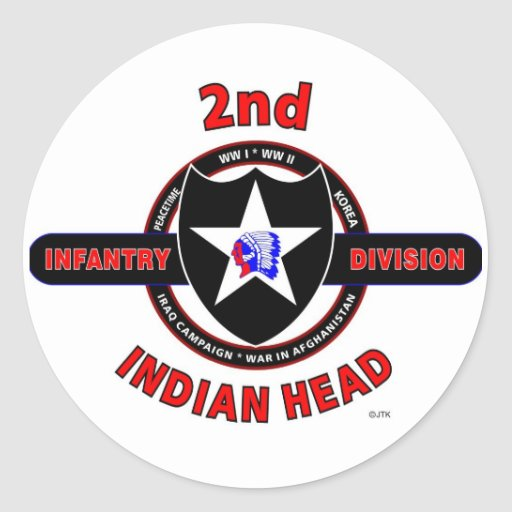 """2ND INFANTRY DIVISION """"INDIAN HEAD"""" ROUND STICKERS"""