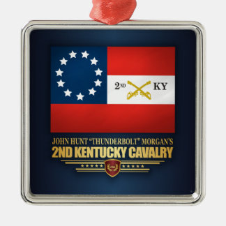 2nd Kentucky Cavalry CSA Silver-Colored Square Ornament