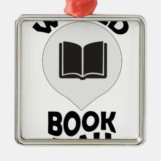 2nd March - World Book Day Silver-Colored Square Ornament