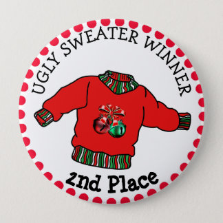 2nd Place Ugly Sweater Winner Christmas Gold Medal 4 Inch Round Button