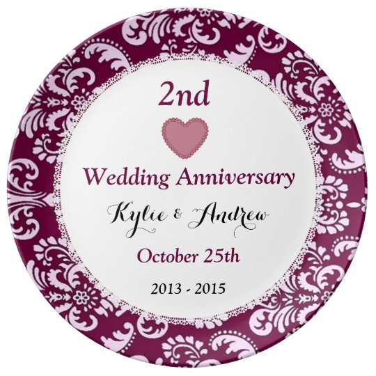 2nd Wedding Anniversary Ruby Red Floral A5 Porcelain Plates