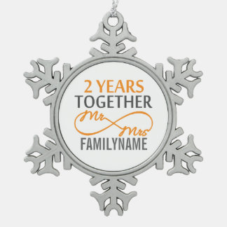 2nd Year Anniversary Infinity Gift Mr and Mrs Snowflake Pewter Christmas Ornament