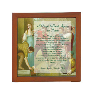 2x St. Agatha (M 003) with Prayer for Nurses Desk Organizer