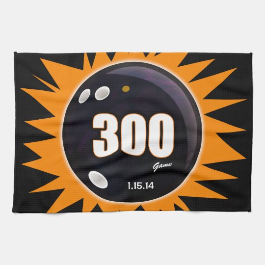 300 Game Orange & Black Kitchen Towel
