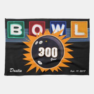 300 Game Orange & Black with Neon BOWL sign Kitchen Towel