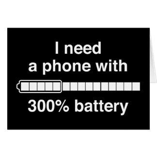 300 Percent Battery Greeting Card