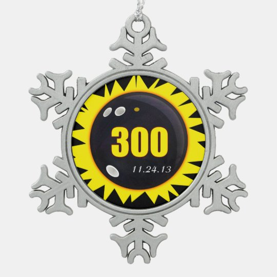 300 Perfect Game Yellow Pewter Snowflake Ornament