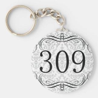 309 Area Code Basic Round Button Keychain