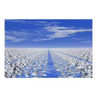 #30-01 Cyan Ice Path: Meditative Snow Field Poster