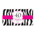 30/40/50/60 Fabulous Zebra Water Bottle Labels