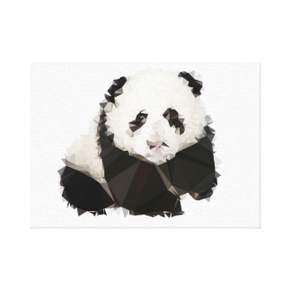 30.48x30.48cm, 3.81cm, Panda Low Poly Canvas Print