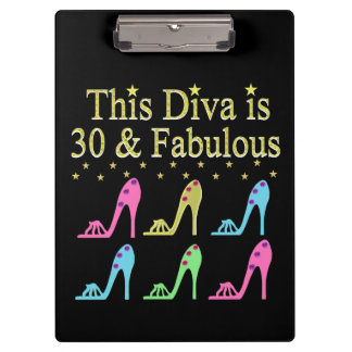 30 AND FABULOUS SHOE QUEEN DESIGN CLIPBOARD