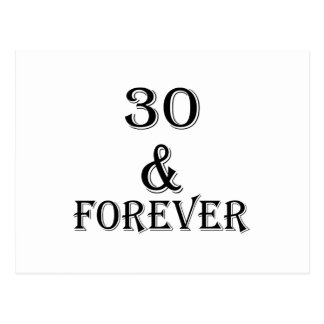 30 And  Forever Birthday Designs Postcard