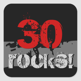 30 Birthday - 30 Rocks! Grunge Red and Black Square Sticker