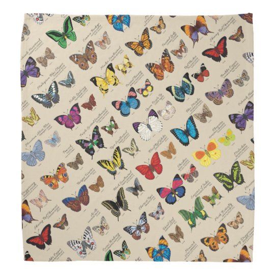 30 Butterfly Species from Around the World (Light) Bandana