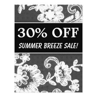 30 OFF Sale Flyer Black White Lace