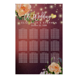 30 Table Burgundy Red Floral Wedding Seating Chart
