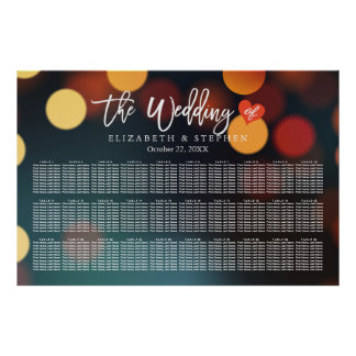 30 Tables Seating Chart Chic Teal Gold Bokeh Light