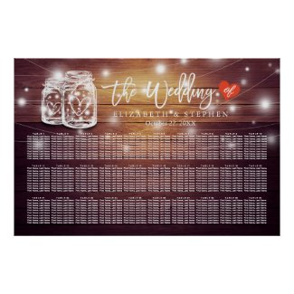 30+ Tables Wedding Seating Chart Mason Jar Lights