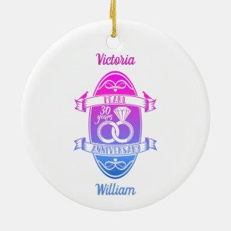 30 traditional pearl 30th  wedding anniversary ceramic ornament