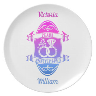 30 traditional pearl 30th  wedding anniversary plate