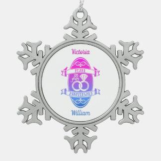 30 traditional pearl 30th  wedding anniversary snowflake pewter christmas ornament