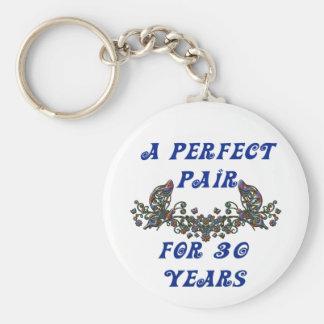 30 Year Anniversary Basic Round Button Keychain