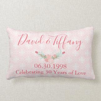 30 Year Wedding Anniversary Pink Floral Lumbar Pillow