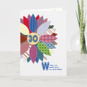 30 Years Old Stitched Flower Birthday Card