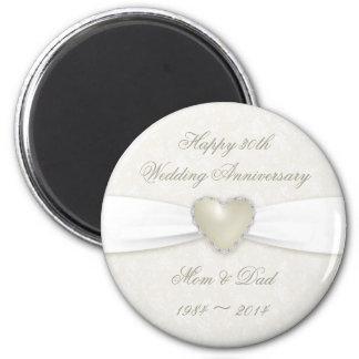 30ème aimant d'anniversaire de mariage de damassé