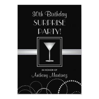 30ème Argent et noir de fête d'anniversaire Carton D'invitation 12,7 Cm X 17,78 Cm