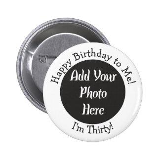 30ème bouton personnalisé de photo d'anniversaire macaron rond 5 cm