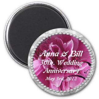 30ème, perles d'anniversaire de mariage et Swi flo Magnet Rond 8 Cm