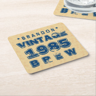 30th 1985 or ANY YEAR  Vintage Brew Gold J30Z Square Paper Coaster